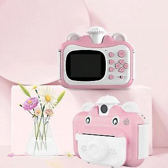Koolyou 2,4 pouces 1080p ceinture cadeau de jouet pour appareil photo numérique pour enfants avec 3 rouleaux de papier rose