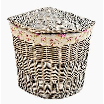 Small Antique Wash Corner Linen Basket With Garden Rose Lining