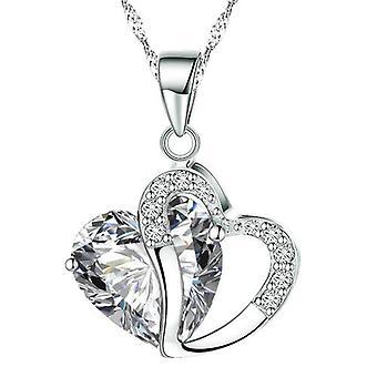 BOOLAVARD moda kryształy serca kształcie wisiorek naszyjnik wisiorek + pudełko