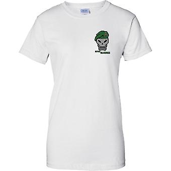 Royal Marines Green Beret Schädel und Globe und Laurel - Damen Brust Design T-Shirt