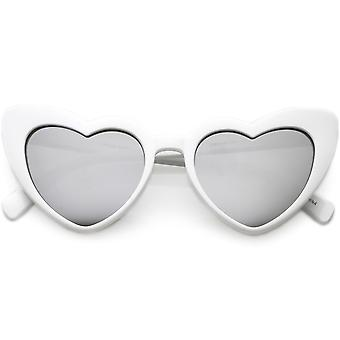 Women's Oversize Chunky Heart Sunglasses Colored Mirror Lens 51mm