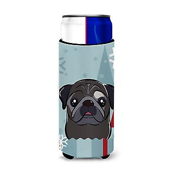 Winter Holiday Black Pug Ultra Beverage Insulators for slim cans