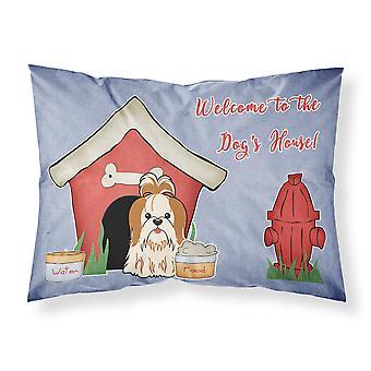 الكلب البيت جمع شيه تزو الأحمر القماش الأبيض القياسية وسادة