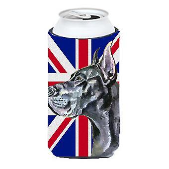 Czarny Wielki Duńczyk z angielski Union Jack flagi brytyjskiej wysoki chłopiec napojów Insulato