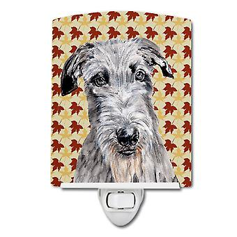Scottish Deerhound Fall Leaves Ceramic Night Light