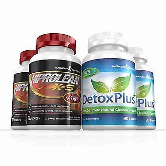 Hiprolean X-S koffein gratis Fat Burner rense Combo Pack - 2 måneders forsyning - fedtforbrænder og kolon rense - Evolution slankende