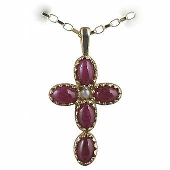 9ct Złota 25x16mm krzyż ustawiony z 5 rubinów i 1 perła na belcher łańcucha 24 cale