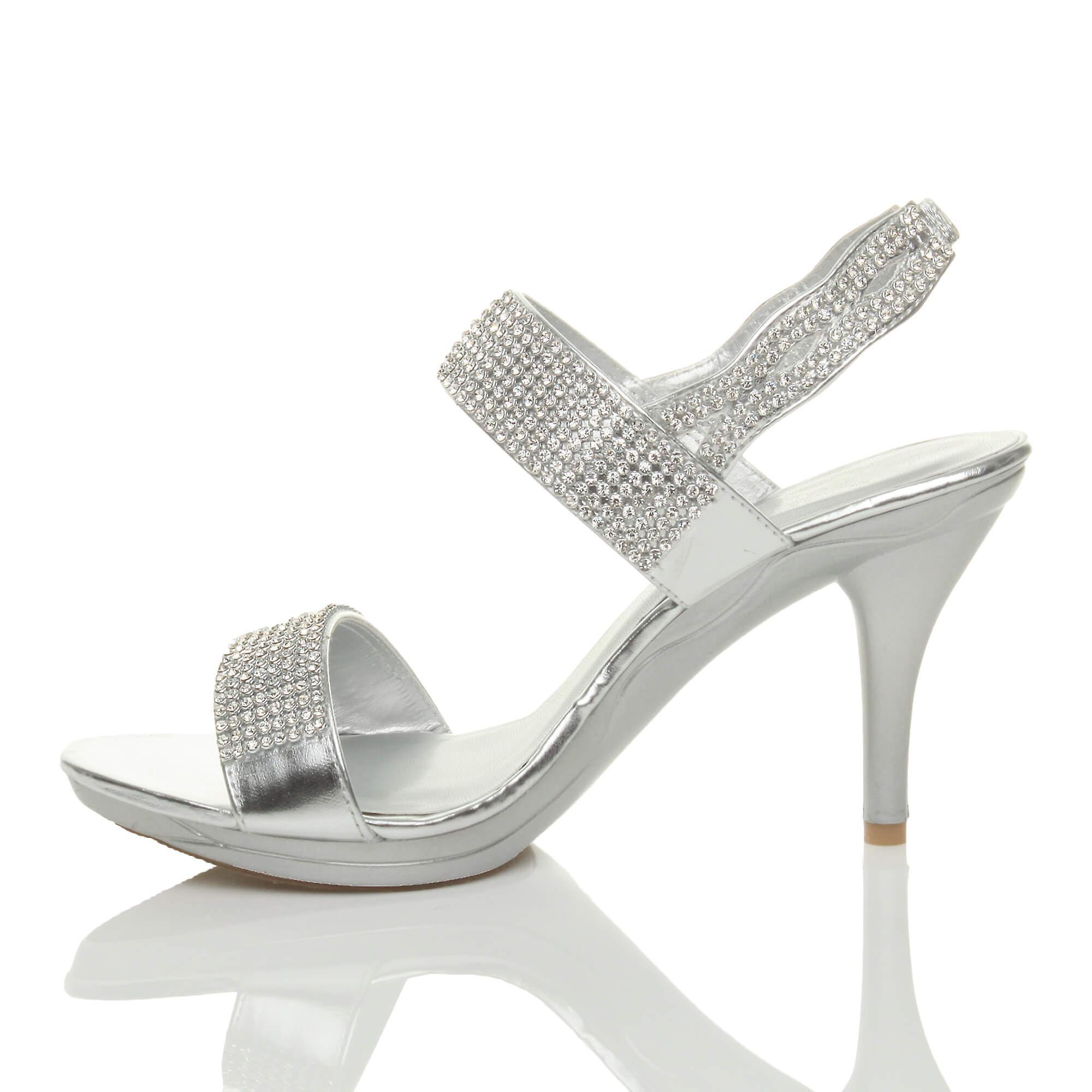 Ajvani Womens High Heel Diamante Prom Platform Wedding Party Evening Sandals