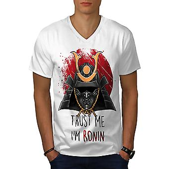 Trust Me I'm Ronin Funy Men WhiteV-Neck T-shirt | Wellcoda