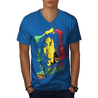 Marley Canabis Bob Men Royal BlueV-Neck T-shirt   Wellcoda