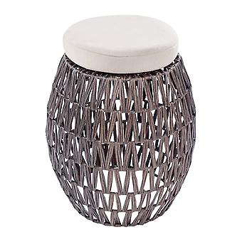 Rattan Hocker 2er-Set Outdoor Möbel Gartenmöbel Braun