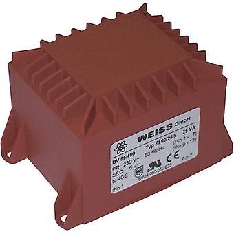 Weiss Elektrotechnik 85/409 PCB mount transformer 1 x 230 V 2 x 15 V AC 25 VA 833 mA