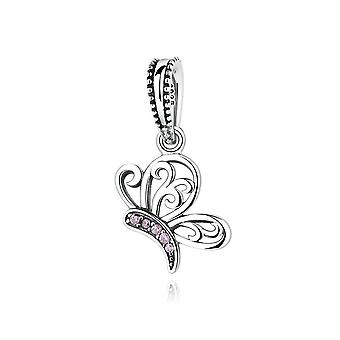 Sterling silver pendant charm butterfly with pink zirconia