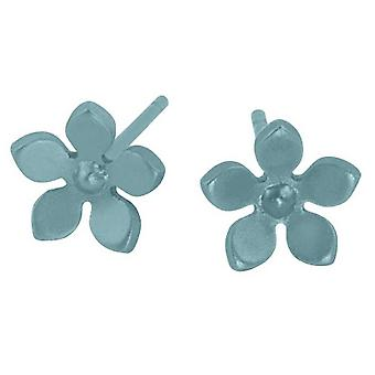Ti2 Titanium 8mm Five Petal Stud Earrings - Sky Blue
