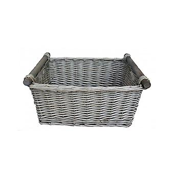Medium Grey Wash Wooden Handled Wicker Storage Basket