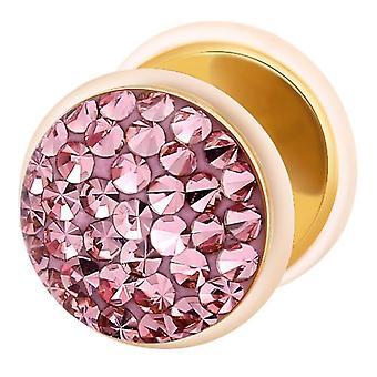 Falso traidor Ear Plug ouro chapeado, brinco, joias de corpo, com Multi cristal rosa claro