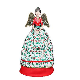Gisela Graham Red Holly Christmas Fairy Topper
