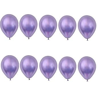 TRIXES Pack of 10 Metallic Latex Balloons 12inch Party Decoration Colour Purple