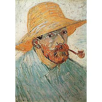 Автопортрет с трубой и соломенная шляпа, Винсент Ван Гог, 42x30cm
