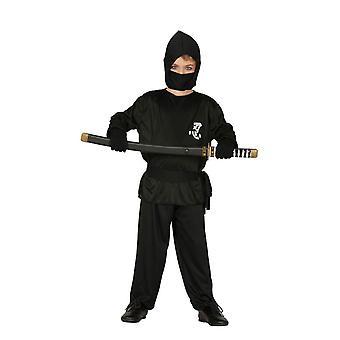 Boys Black Ninja Fancy Dress Costume
