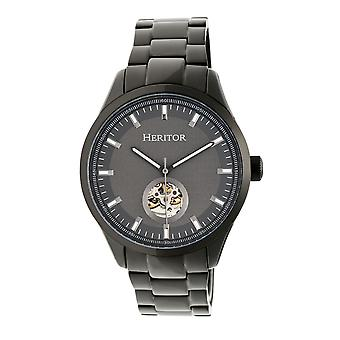 Reloj de pulsera semi esqueleto de equipo automático Heritor s - Black/Charcoal
