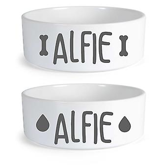 Peronalised Dog Food And Water Bowl Set Bone Large Ceramic Dog Bowl