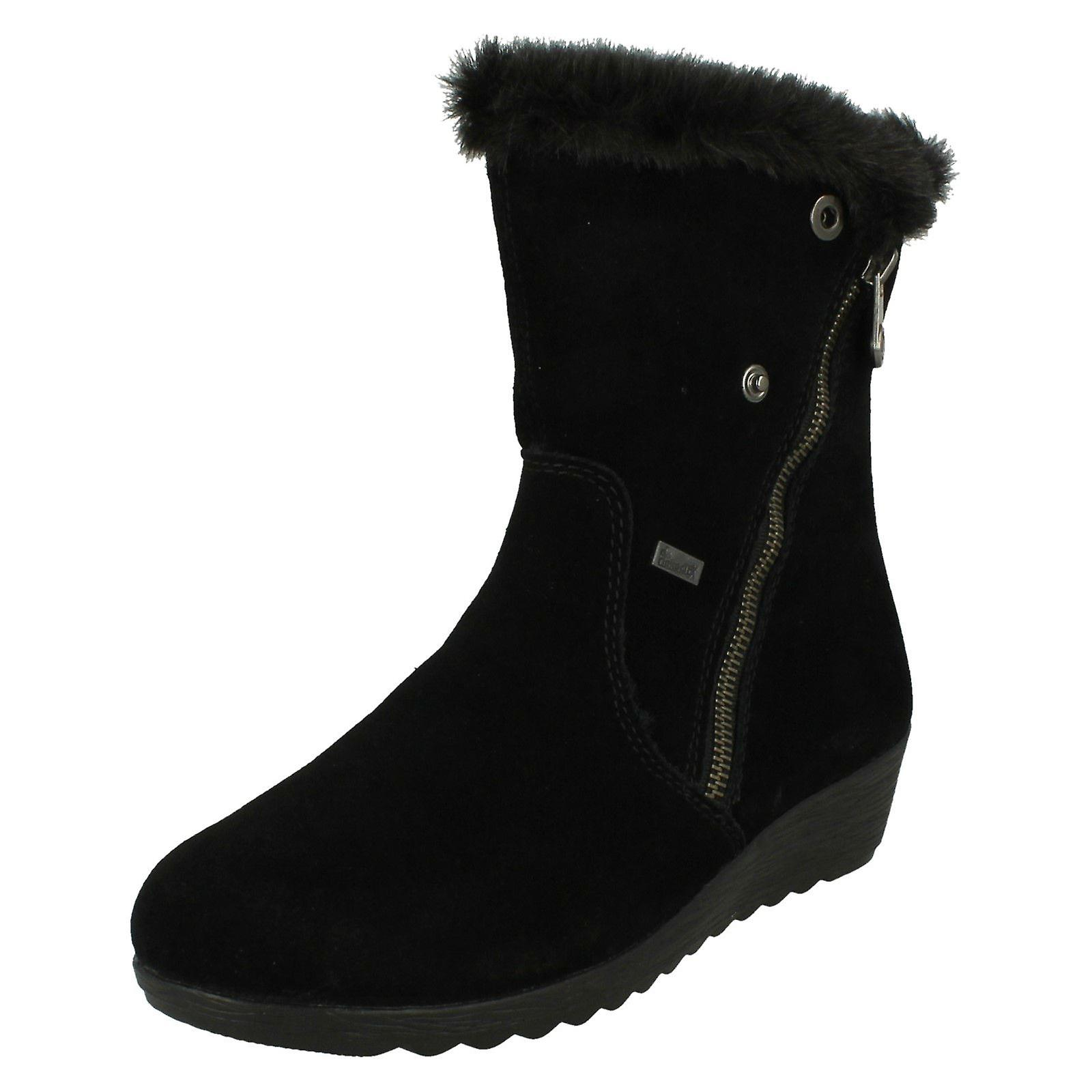 Ladies Rieker Lambswool Lined Ankle Boots Z2470 m9Q6h