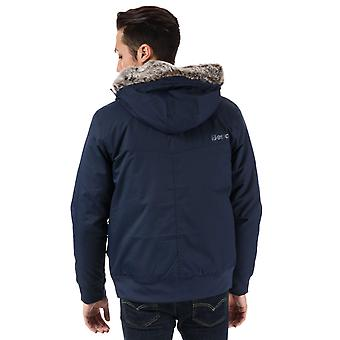 Mens Bench Wadded Fur Jacket In Navy- Zip Fastening With Hook And Loop Storm