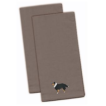 Sheltie/Shetland Sheepdog Gray Embroidered Kitchen Towel Set of 2