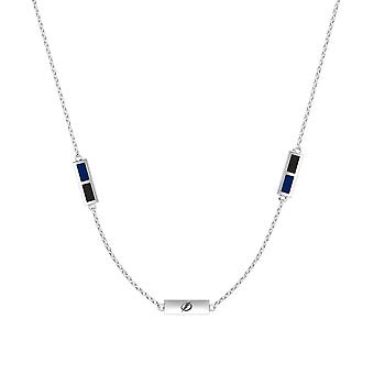 Tampa Bay Lightning Sterling Silver Engraved Triple Station Necklace In Blue & Black