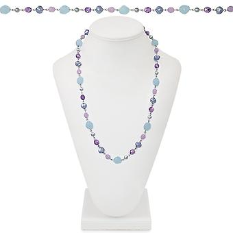 Eternal Collection California Light Blue And Lilac Crystal 26 Inch Silver Tone Beaded Necklace