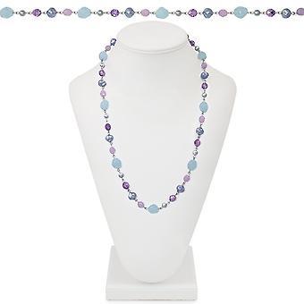 Eternal Collection Kalifornia vaaleansininen ja lila Crystal 26 tuuman Silver Tone helmillä kaula koru