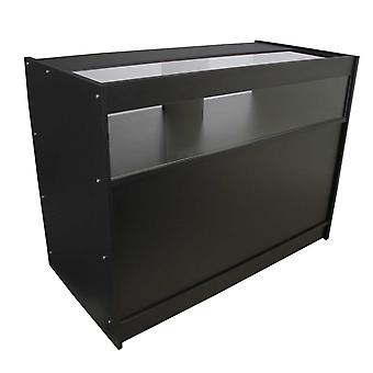 Retail 1/4 Glass Shelf Counter Shop Showcase Display Cabinet Black B1200
