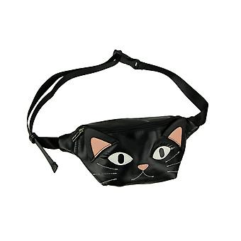 Black Vinyl Cat Face Adjustable Fanny Pack
