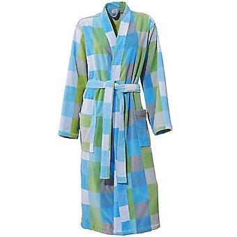 Heine domu bawełniany szlafrok sauny płaszcz dla kobiet i mężczyzn puszysty miękki z projektem pudełka i krawat pasa aqua / zielony