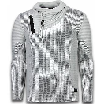 Knitted Sweater - Scarf Collar Zipper - Grey