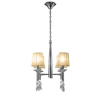 Mantra M3852 Tiffany Pendant 4+4 Light E14+G9, Polished Chrome With Soft Bronze Shades & Clear Crystal