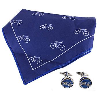 David Van Hagen Bike Handkerchief and Cufflink Set - Blue/White
