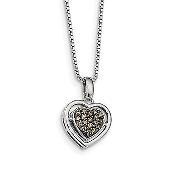 925 Sterling Silver Gift Boxed Spring Ring Cut out kanten Rhodium vergulde Champagne Diamond Love Heart Hanger Ketting Je