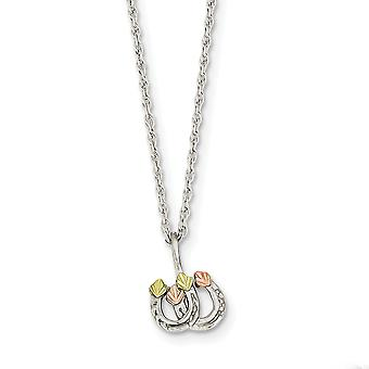 925 Sterling Silver Polished Spring Ring and 12k Leaves Double Horseshoe Necklace - 18 Inch