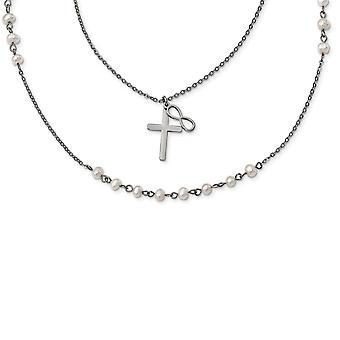 Edelstahl mit Süßwasser kultiviertperlen Doppel Strang Infinity religiösen Glauben Kreuz Halskette 24 Zoll Schmuck Gi