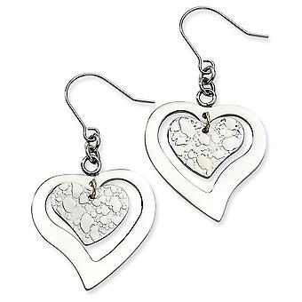 Stainless Steel Textured Polished Shepherd hook Love Heart Long Drop Dangle Earrings Jewelry Gifts for Women