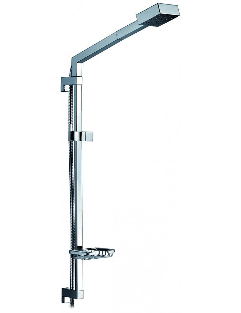 Double Function Squared Shower Column, All Brass