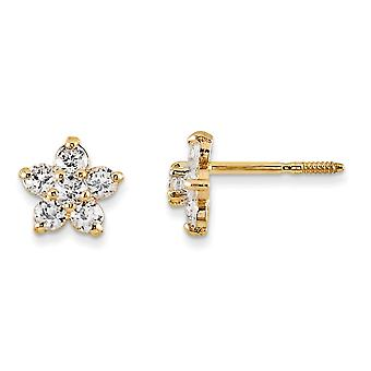 14k Yellow Gold Polished Screw back Post Earrings Marquise CZ Cubic Zirconia Simulated Diamond Star for boys or girls Ea