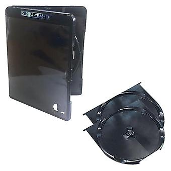 Replacement 15mm spine blu ray 4k ultra hd retail case for 2 discs - 2 pack black