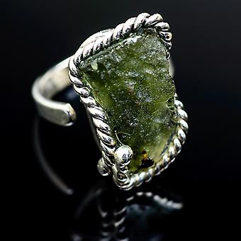 Czech Moldavite Ring Size 8 Adjustable (925 Sterling Silver)  - Handmade Boho Vintage Jewelry RING978085