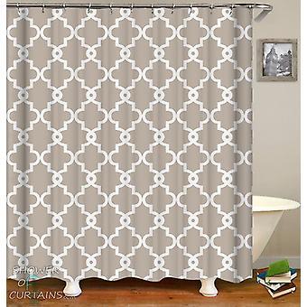 Light Grey Moroccan Shower Curtain