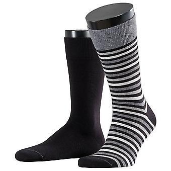 Esprit multi stripe 2-pakning sokker-svart