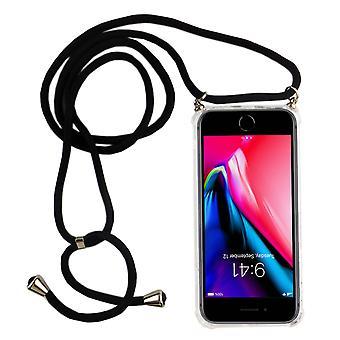 Handykette für Apple iPhone 7 Plus / 8 Plus - Smartphone Necklace Hülle mit Band - Schnur mit Case zum umhängen in Schwarz
