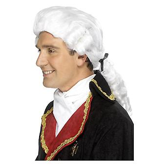 Mens witte Hof pruik Fancy Dress accessoire